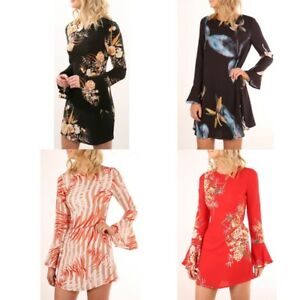 Women-Long-Flare-Sleeve-Floral-Print-Crew-Neck-Bodycon-Party-Dress-Fashion