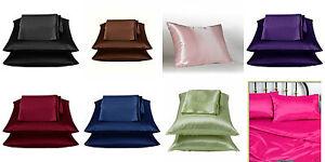2 Pieces Soft Satin Pillowcase Solid Color Black Purple
