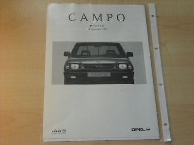 15436) Opel Campo Preise Extras Prospekt 01/99