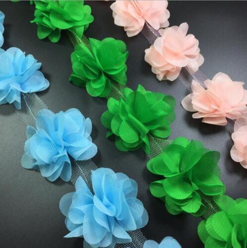 2 Yards Flowers 3D Chiffon Flowers Lace Decoration Dress Applique Sewing