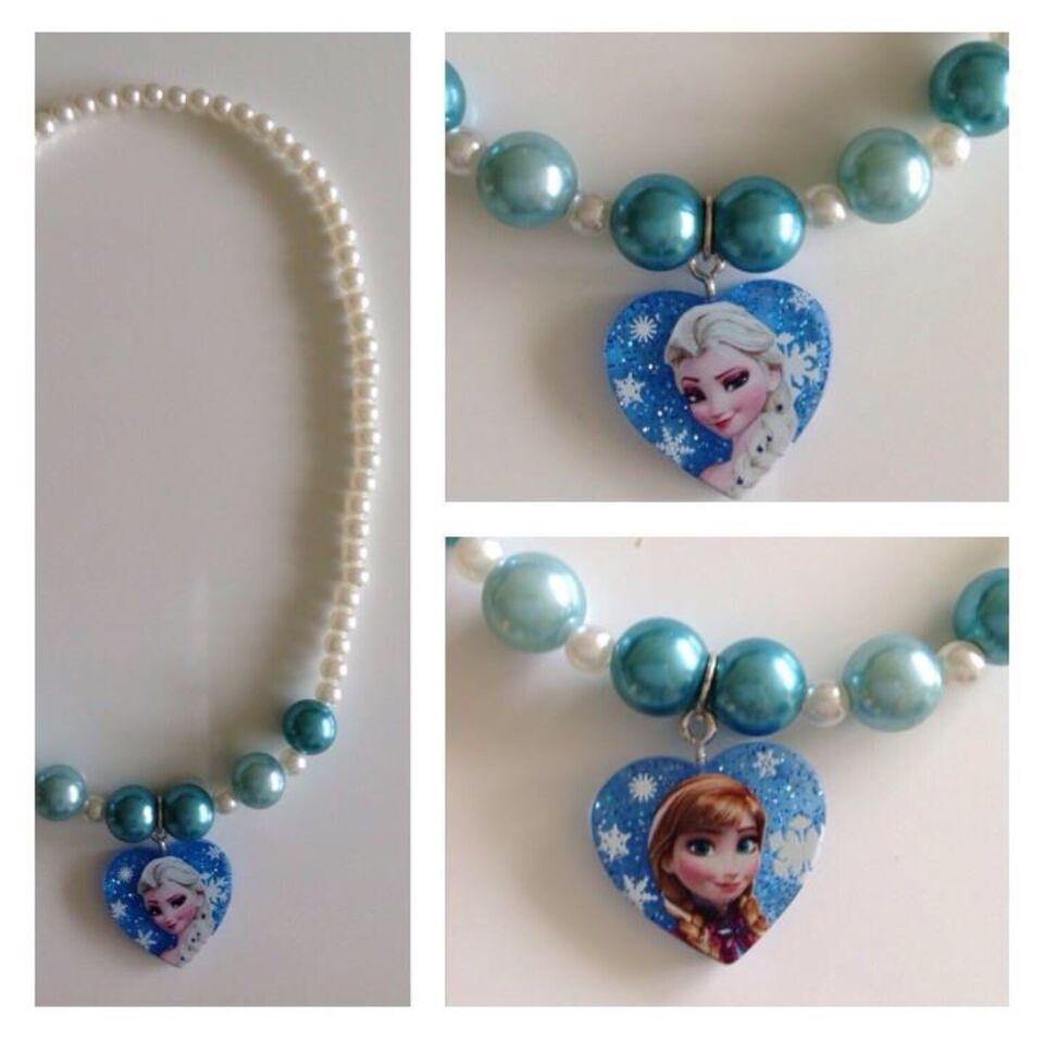 Halskæde, perler, Frost halskæde med Elsa og Anna vendbar