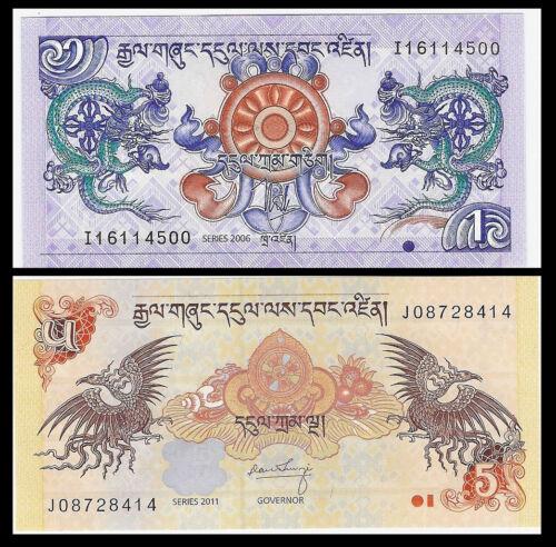 Bhutan Set 2 PCS UNC P-27 28 2006-2013 1+5 Ngultrum Banknote