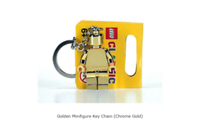 LEGO Golden Minifigure Key Chain 850807 Chrome Gold