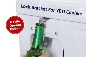 Fits Yeti//RTIC NEW 2 PACK Cooler Lock Bracket With BONUS Bottle Opener