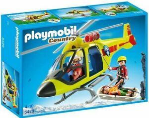 PLAYMOBIL-Helikopter-der-Bergrettung-ab-4-Jahren-Mit-Seilwinde-u-Transporthaken