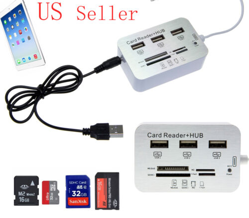 3Port USB Hub Micro SD TF Card Reader Camera Combo Adapter for iPad 4 Mini 5//Air
