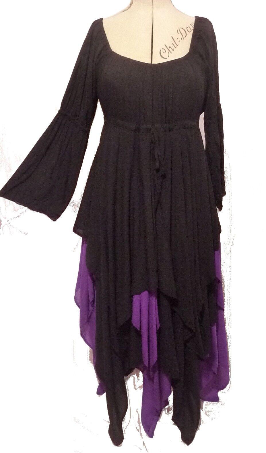 Gothic Fairy schwarz lila peasant dress 12 14 16 18 20 22 24 Swirl Clothing