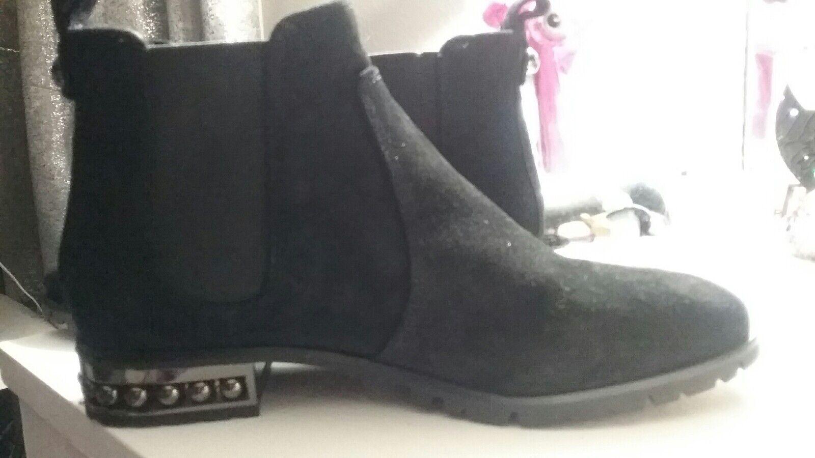 Karl Lagerfeld Satinado Cuero Cuero Cuero de gamuza tobillo botas talla 8 Gorgeous  el estilo clásico