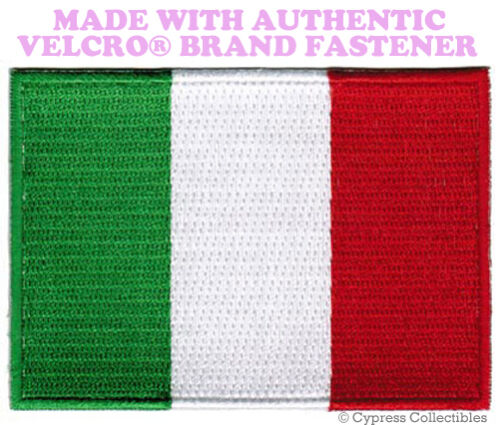 ITALY FLAG PATCH ITALIAN EMBROIDERED emblem TOPPA new w// VELCRO® Brand Fastener
