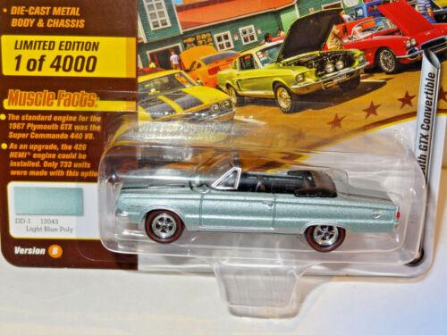 Johnny Lightning 1967 Plymouth GTX Conv Cars N Coffee Set of 2 JLMC020//AB 19P