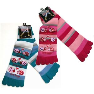 TSK03 Love Bugs Plastic-Printed Cozy Striped Toe Socks Sz 9-11 Perfect Gift