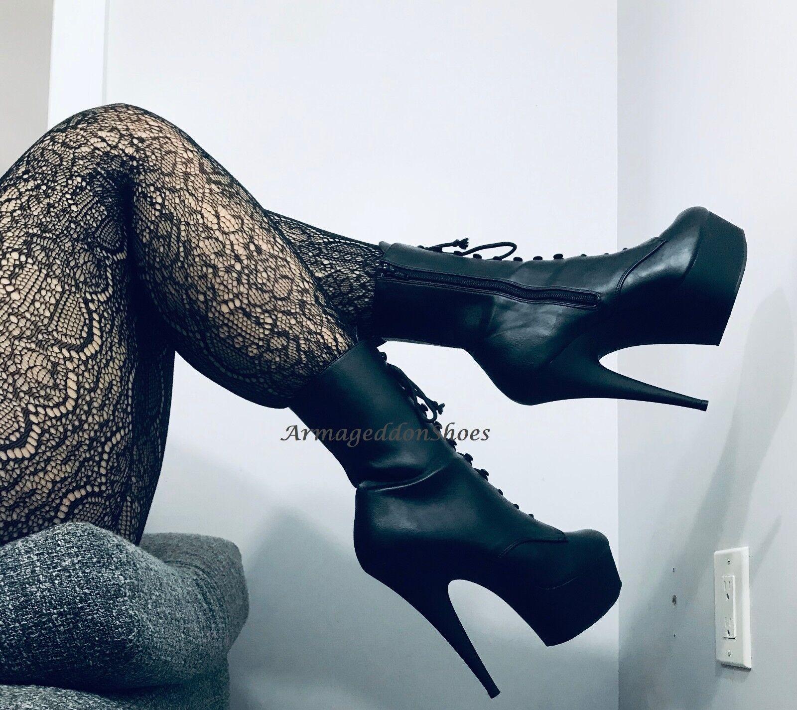 Nero Leather Steampunk Victorian Stripper stivali Pleaser Heels Womans scarpe