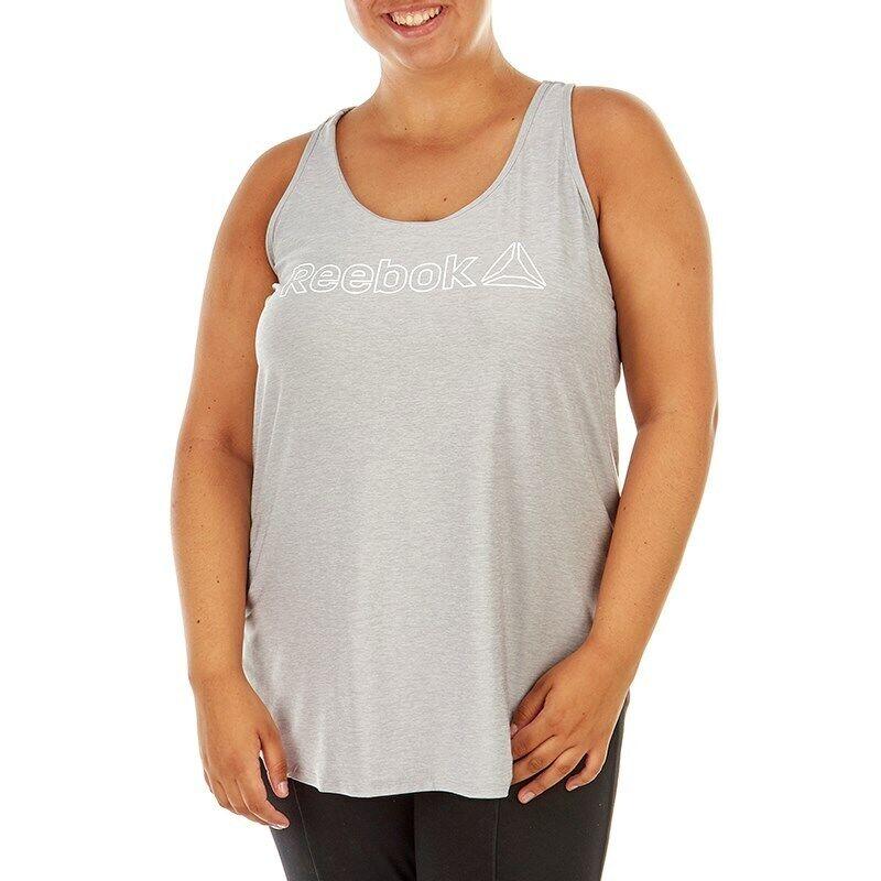 Reebok Women Tank Top 1X 2X Plus Size Gray Singlet Sleeveless Shirt LOGO NWT