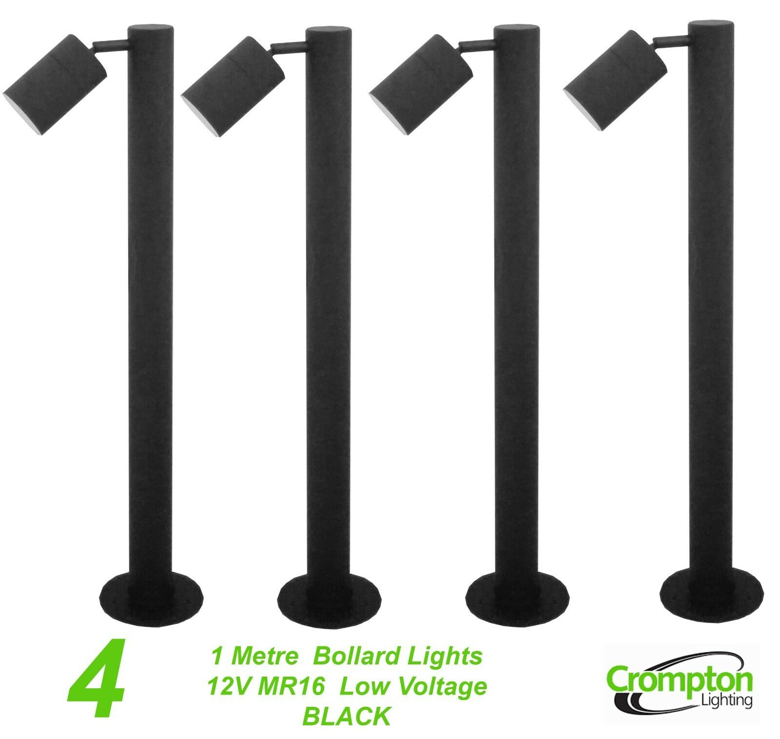4 x schwarz 1 Metre DIY Garden Adjustable Bollard Light 12V MR16 Low Voltage