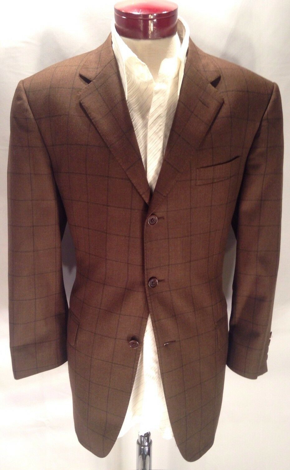 F261 Gian Luca Napoli 42R Braun Windowpane Sports Coat Blazer 100% Wool