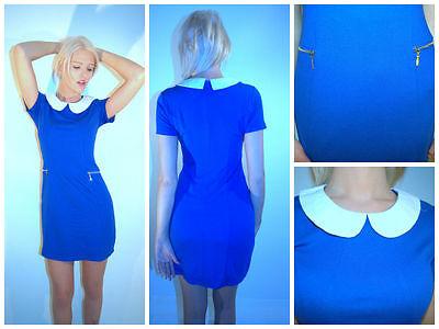 Cobalt Blue Peter Pan Collar Contrast White Collar Mini Dress Zips 60's Style