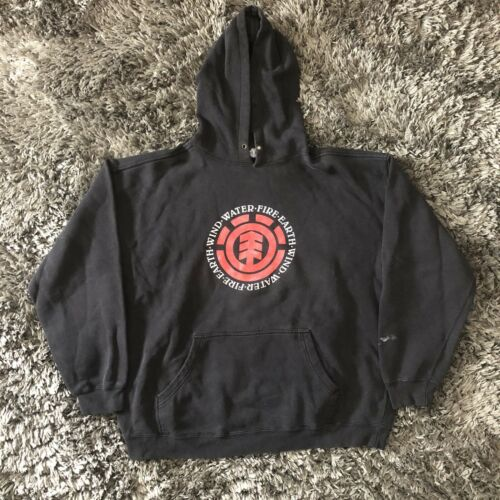 Rare 90's Element Skateboards Black Sweatshirt Hoo