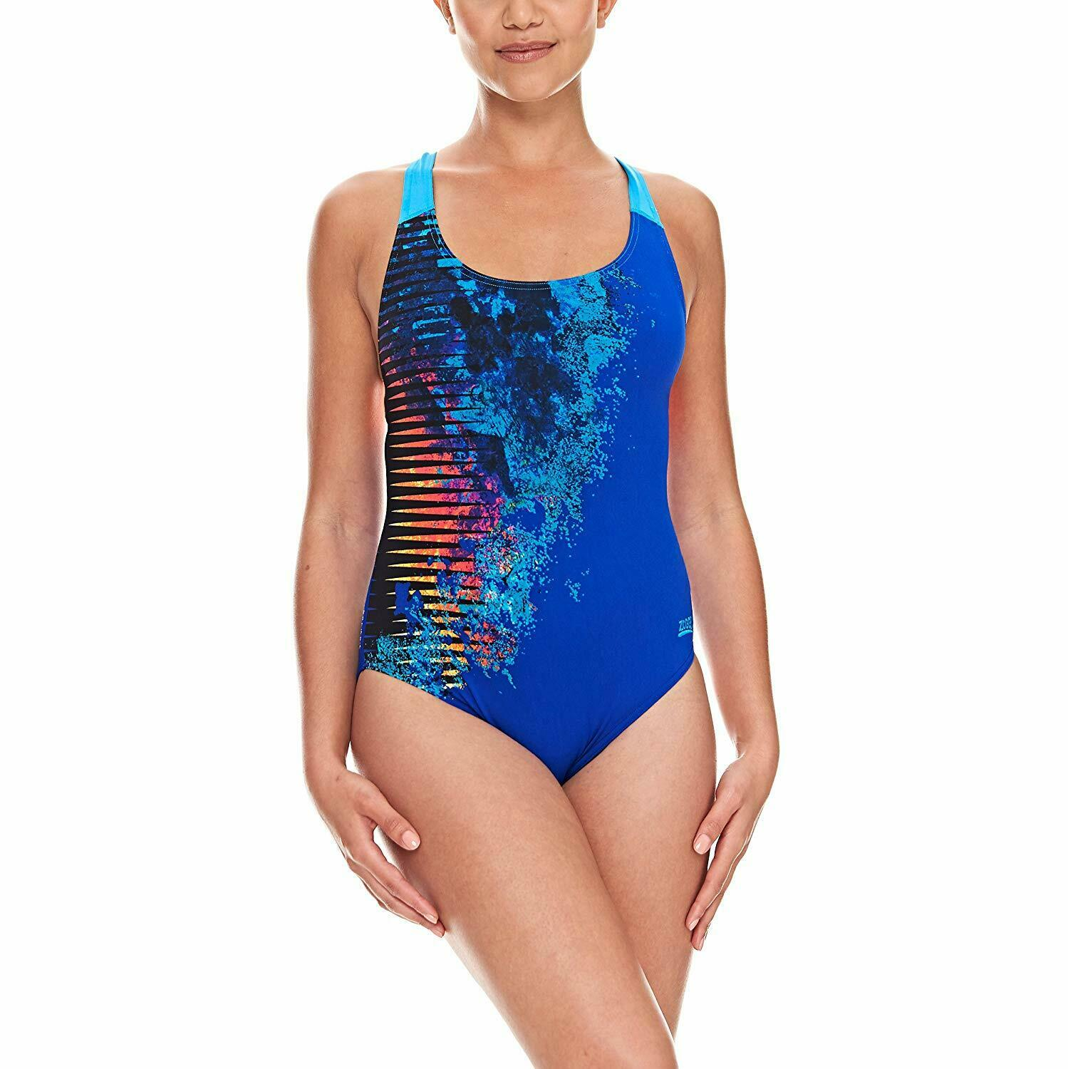 Zoggs Women's Empire Speed Back Swimming Costume with Aqualast Fabric