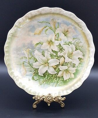 """*rare* Antique Carnation Mcnicol 10"""" Plate Spring Iris Cottage Pearl Glaze Easy To Use"""