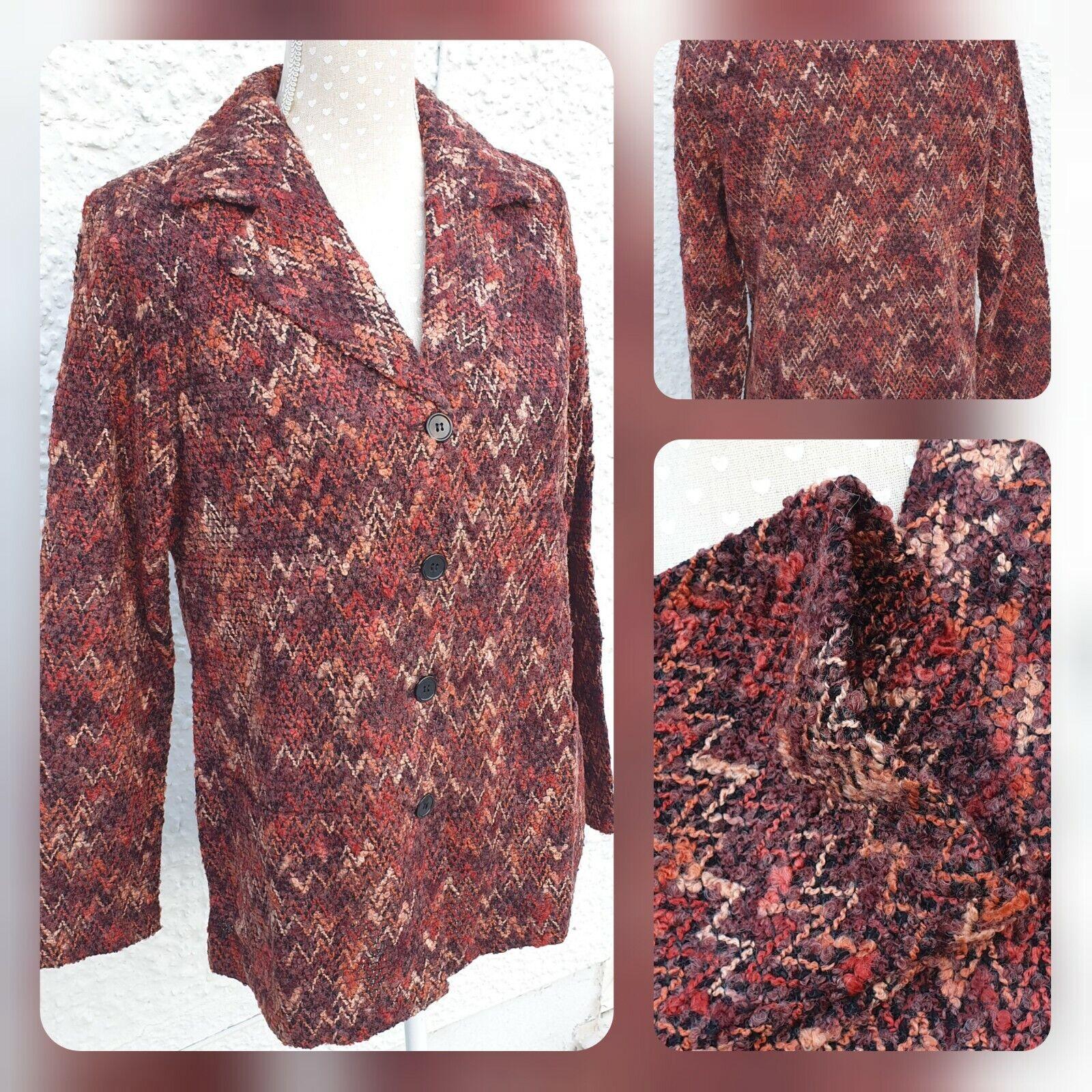 Classics ladies rust acrylic knitted jacket size UK 20 NEW