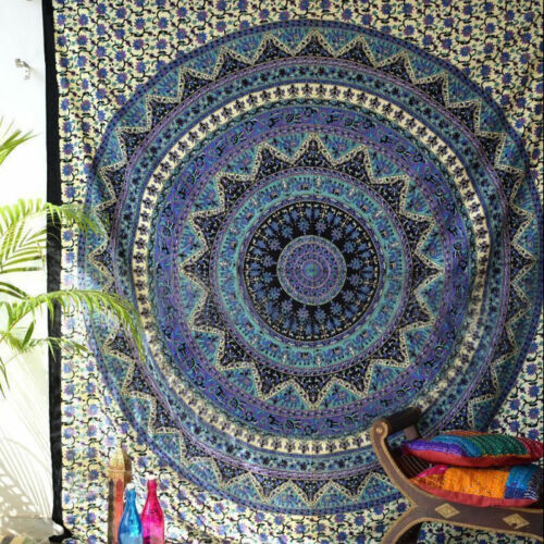 Indian Hippie Mandala Tapestries Bohemian Queen,Twin,Round Throw Home Wall Decor