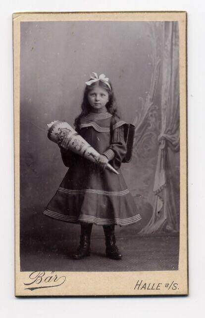 CDV Foto kleines kind mädchen einschulung zuckertüte schultüte Bär Halle Saale