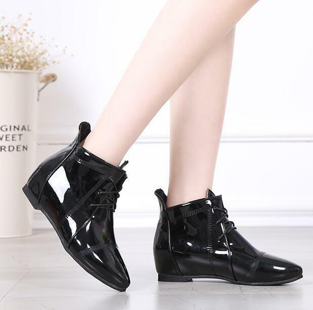 Womens Wedge Heels Patent Patent Patent Leather Lace Up Pointed Toe Ankle Boots Casual shoes V 80718a