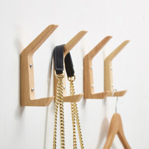 4Pcs Solid Wooden Wall-Mounted Hook Peg Coat Hanger Pegs Rack Hooks Hangers Set