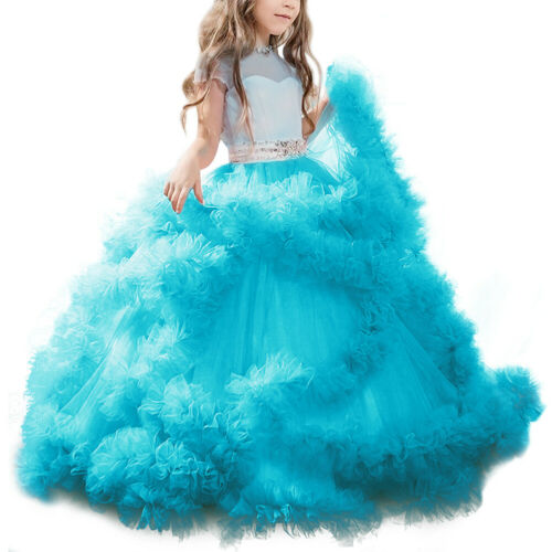 Flower Girl Kids Bridesmaid Wedding Party Dress Ruffle Tulle Princess Ball Gown