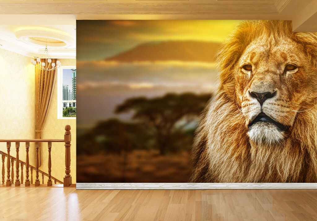 3D Lion Head Animal Nature 3821 Wall Paper Wall Print Decal Wall AJ WALLPAPER CA