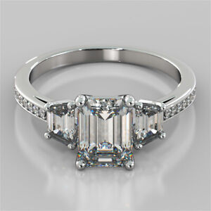 2.78 Ct Emerald Moissanite Wedding Ring 14K Proposal Solid White Gold Size 6 7