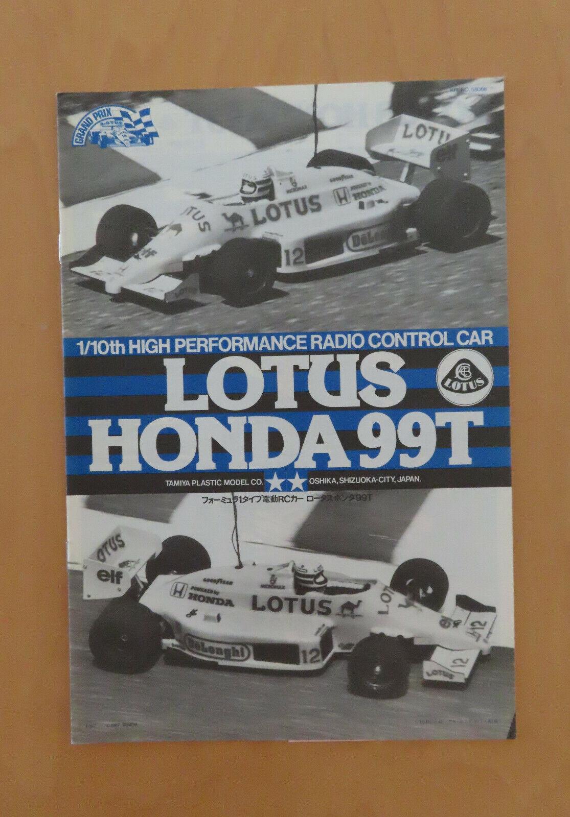RC Tamiya MANUALE Lotus Honda 99T 58068 NUOVO 1987