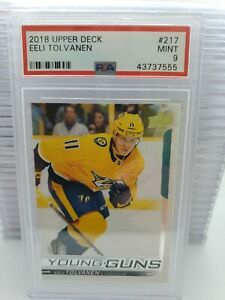 2018-19 Upper Deck 217 Eeli Tolvanen Young Guns RC Rookie PSA MINT 9