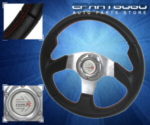 320mm-Racing-Steering-Wheel-Mazda-Pvc-Leather-Black-Silver-With-Red-Stitching