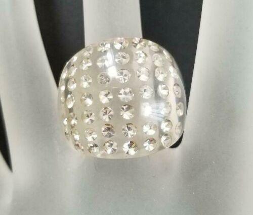 Vintage Lucite Rhinestone Ring - Size 5.5