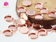 50pcs 12mm Rose Gold Bezel Pendant Trays Blank Bracelet Connectors Setting