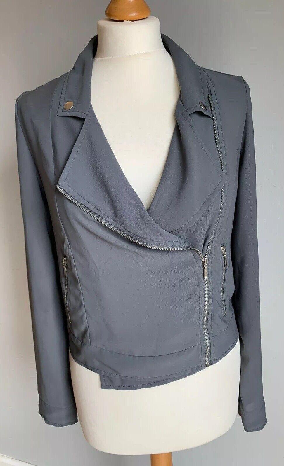Atmosphere Grey Sheer Lightweight Biker Style Zip Up Jacket, Coat, Size 8