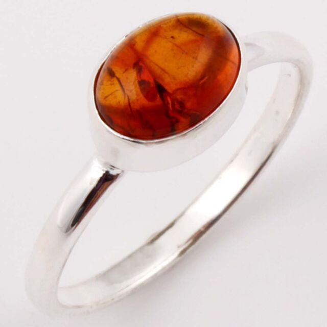 FINE EDH 925 Solid Sterling Silver BALTIC AMBER Gem Ring Choose Any Size C-2981