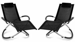2x Rocking Black Orb Chaise Longue Pliante Extérieur Fauteuil Lune Rocker Jardin Patio-afficher Le Titre D'origine