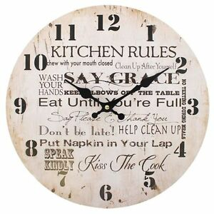 Vintage-Shabby-Chic-Large-Style-Kitchen-Rules-Wall-Clock-Kitchen-Clock-Cream