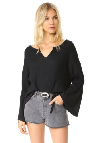New Free People Black Dahlia V-Neck Bell Sleeve Top Thermal Sweater Top