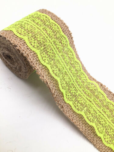 2M Lace Burlap Ribbon Natural Jute Hessian Wedding Party width 6cm