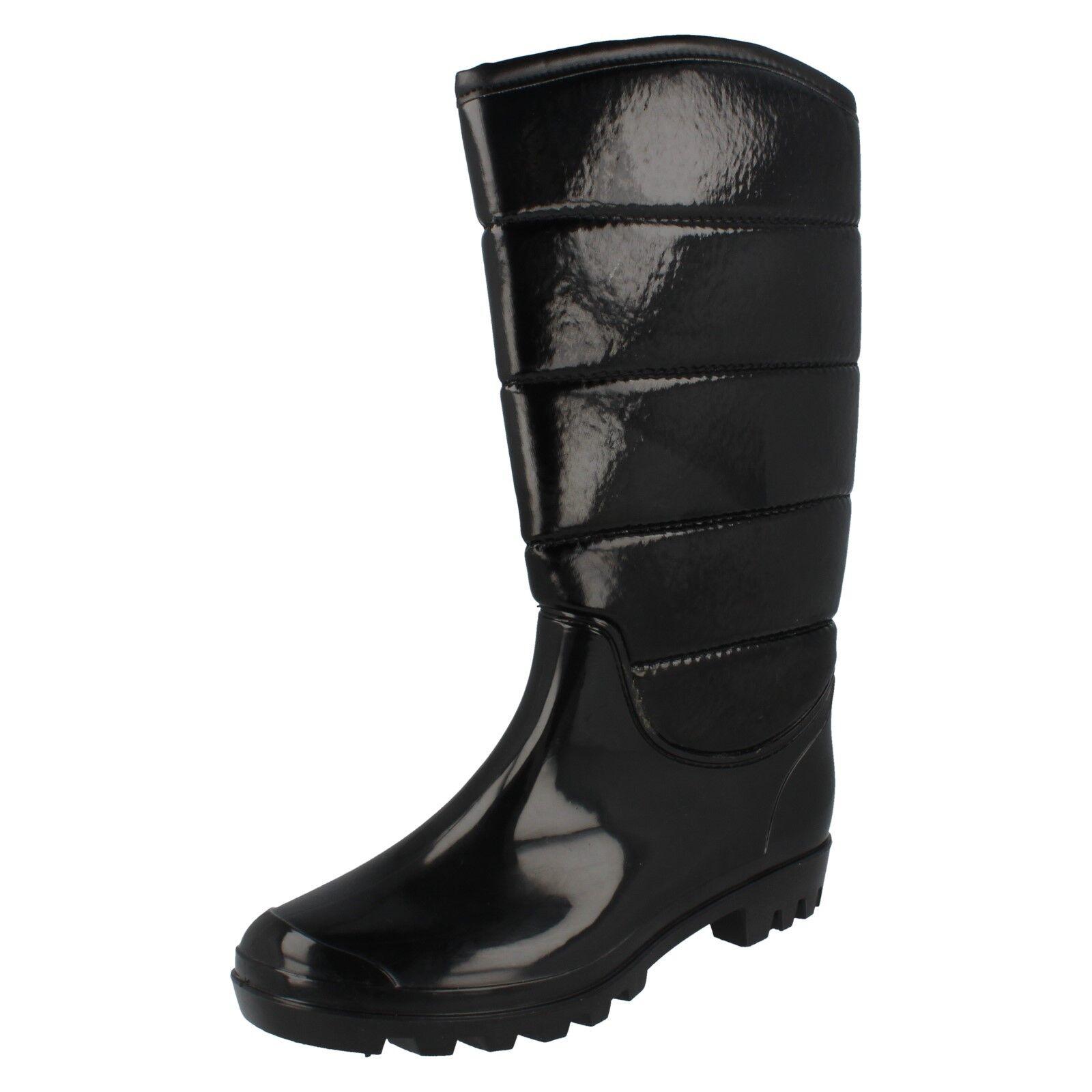 Ladies X1132 black patent/synthet<wbr/>ic  padded wellington boots