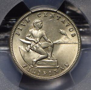 Philippines-1944-USA-5-Centavos-Eagle-animal-PCGS-MS64-PC0634-combine-shipping
