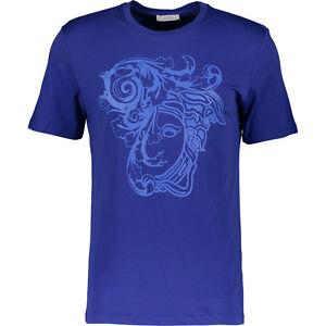 Versace-COLLECTION-Caballeros-impresion-de-marca-100-algodon-Camiseta-DE-BENCH-Azul-BNWT