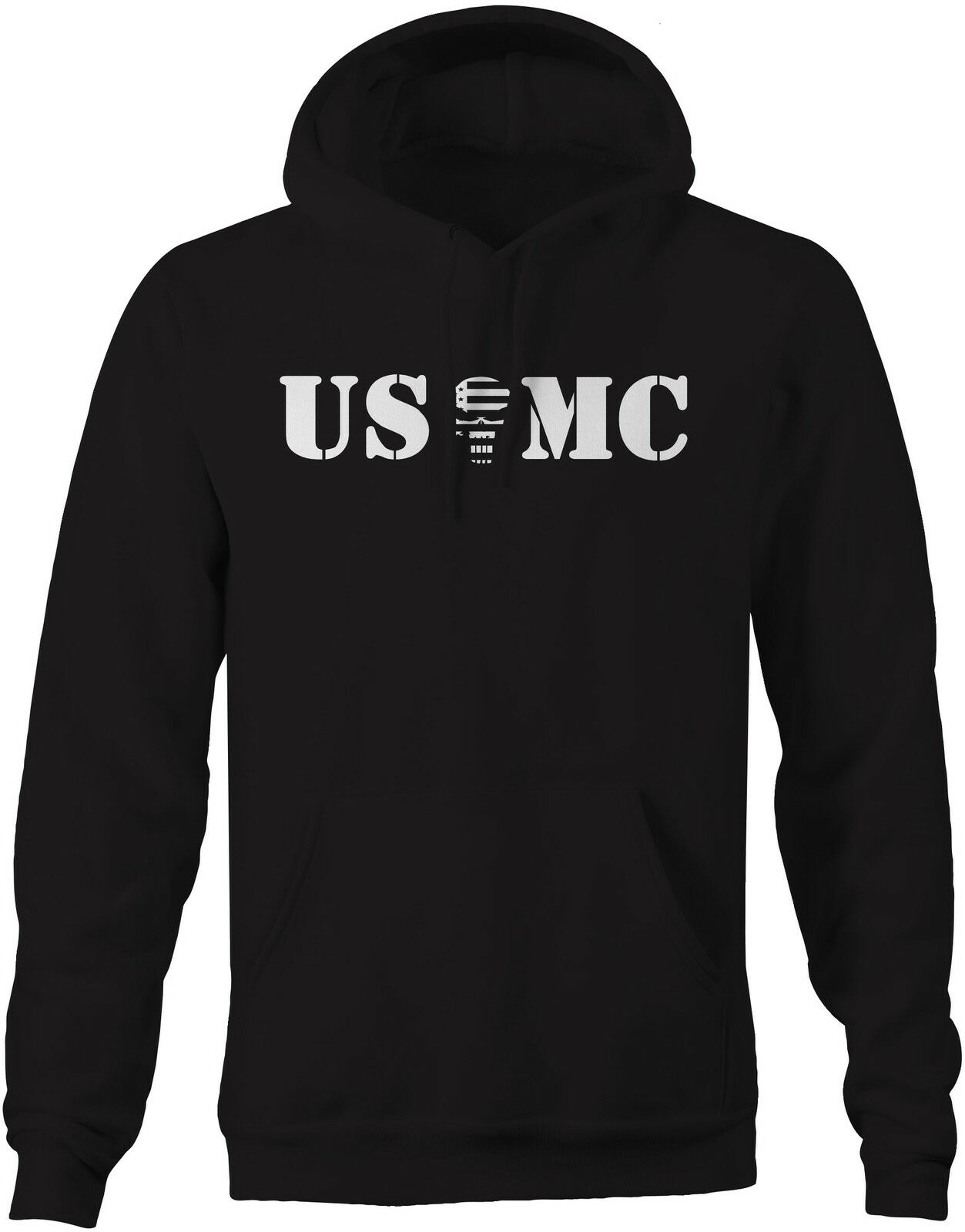 USMC Punisher US Flag Spike Skull - Military Police Sweatshirt