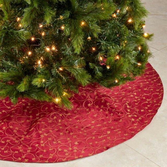 Elegant Gold Embroidery Burgundy Christmas Tree Skirt 70 Inch Round for Home