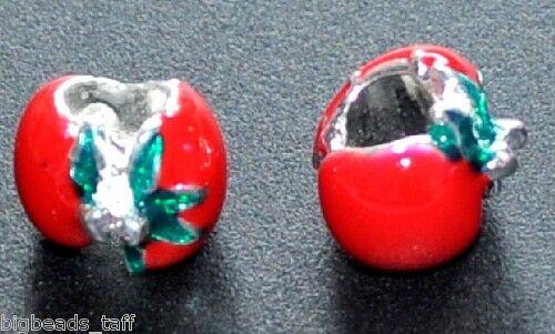2pcs red alloy enamel berry spacer beads big hole fit European snake charm chain