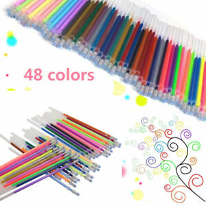 Details zu 48xColor Gel Pen Refill Set Adults Coloring Book Ink Pen Draw  Painting Craft YR