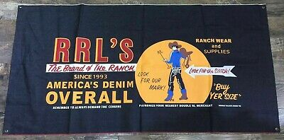 """Genuine RRL /""""RRL Built Well Fit Well/"""" Canvas Decorative Display Banner Backdrop"""